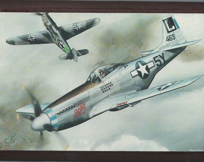 """4"""" X 6"""" Famous WWII North American P-51 Mustang Aircraft wooden plaque"""