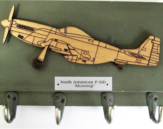 "U.S. Military World War II - North American P-51D ""Mustang"" Aircraft Keychain Rack"