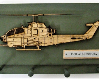 United States Military Bell AH-1 COBRA Helicopter Keychain Display Rack