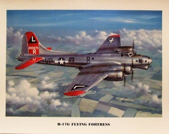 """This 12"""" X 16"""" unframed print is of a Boeing B-17 Flying Fortress on one of its last missions over Germany during World War Two."""