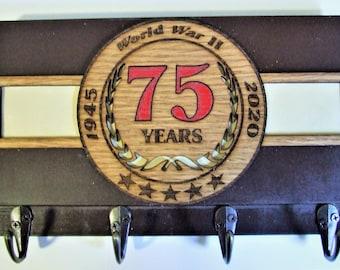 WWII 75th Anniversary Laser Cut Commemorative Memorabilia Emblem Keychain Holder