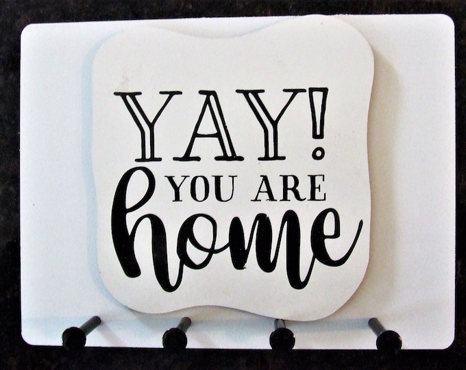 """Wall Mounted Keychain Holder Rack with happy saying -""""YAY! You are Home"""""""