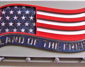 Laser Cut Patriotic U.S. American Wavy Flag Wall Mounted Keychain Rack with Four Aluminum Pegs