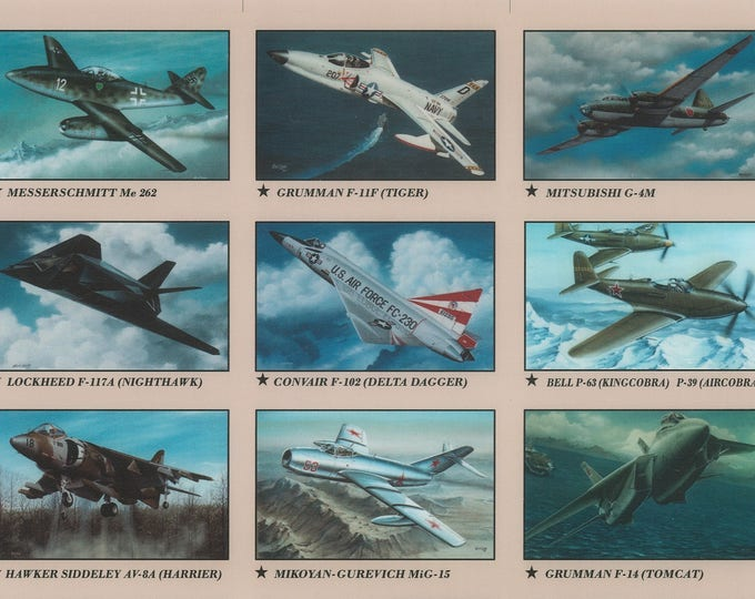 Set #2 - Aviation History Educational Collector Cards of Classic Warbirds and Jets in a plastic storage box