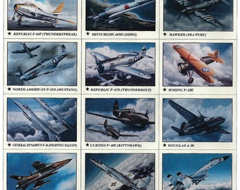 Set #1 - 24 Aviation History Educational Collector Cards of Classic Warbirds and Jets in a plastic storage box
