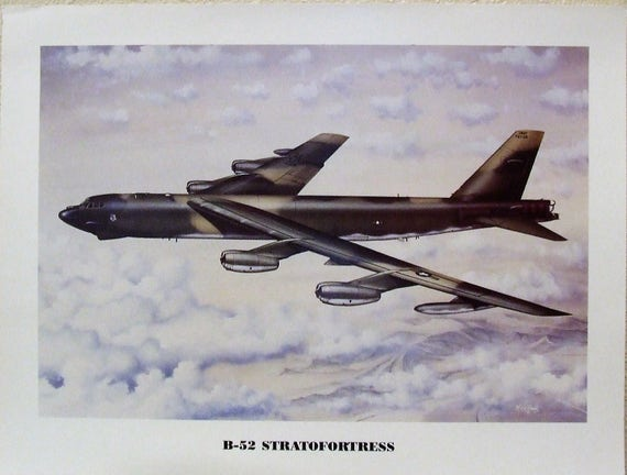 """Unframed Print 12/"""" X 16/"""" of a Boeing B-47 Stratojet climbing to altitude."""