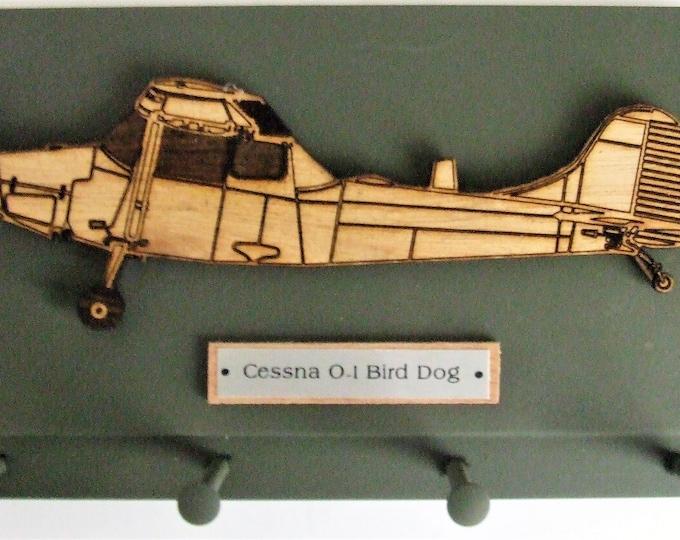 Wall Mounted Keychain Holder Rack - United States Military Cessna O-1 Bird Dog Reconnaissance Aircraft