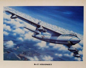 """12"""" X 16"""" unframed print of a Boeing B-47 Stratojet bomber climbing to a higher altitude"""