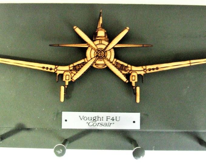 "Famous U.S. Military World War II - Vought F4U ""Corsair"" Aircraft Keychain Rack"