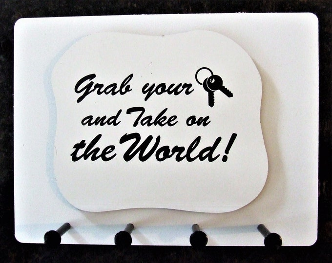 """Wall Mounted Keychain Holder Rack with Saying -""""Grab Your Keys and Take On The World"""""""