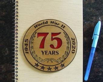 """Commemorative WWII 75th Anniversary Memorabilia Laser Cut 6"""" X 9"""" Journal Book"""