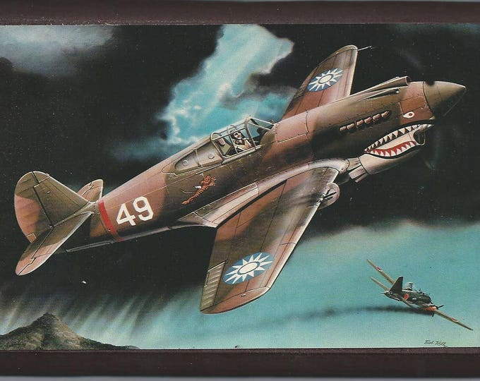 """4"""" X 6"""" Wooden Plaque with a Painting of a Curtiss P-40B Tomahawk over China"""