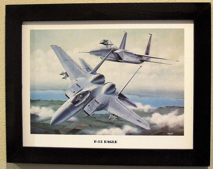 """This 14 1/2"""" X 18 1/2"""" Black Framed Print Painting ( 12"""" X 16"""" image size) is of two F-15 Eagles in hot pursuit of their prey!"""