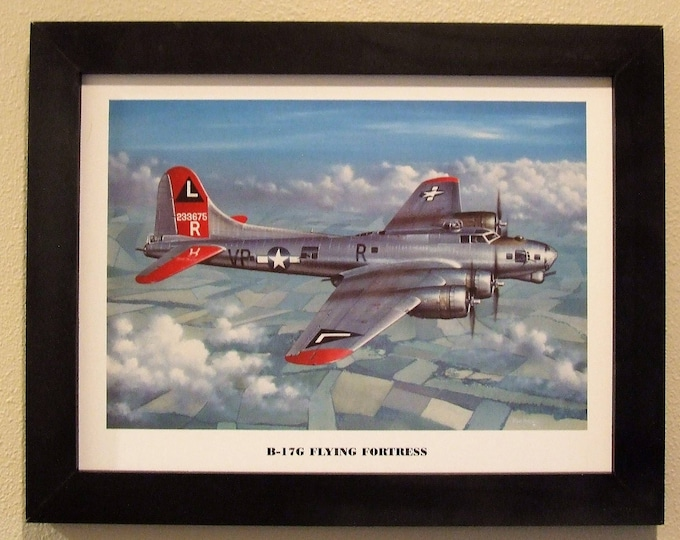"""14 1/2"""" X 18 1/2"""" Black Framed Art Print Painting of a Boeing B-17G Flying Fortress Bomber flying over Germany towards the end of WWII"""