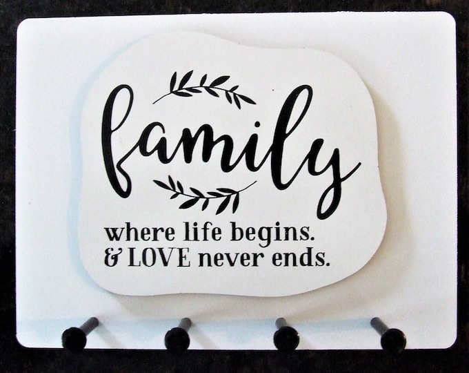"""Wall Mounted Keychain Holder Rack with Saying -""""Family where life begins & LOVE never ends"""""""