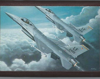 """4"""" X 6"""" General Dynamics F-16 Fighting Falcon wooden plaque"""