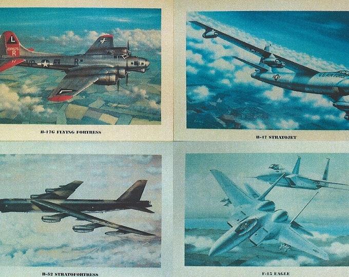 "Set of 4 - 12"" X 16"" Unframed Airplane Prints. (B-17, B-47, B-52, and F-15).  BONUS - FREE pack of 10 different 4""X6"" aircraft mini-posters."