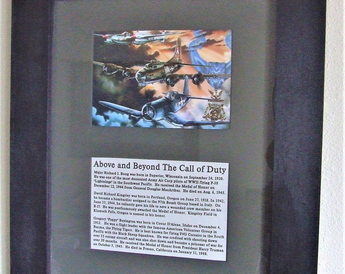 """15"""" X 18"""" Framed Matted Print of Three WWII Aviation Medal of Honor Recipients"""