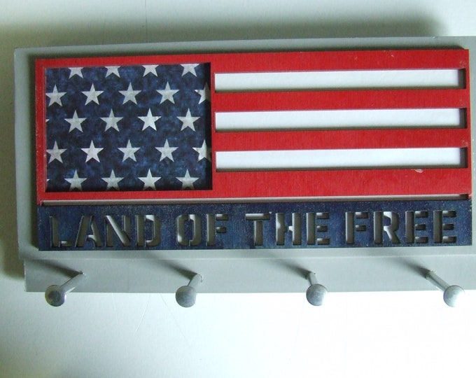 Laser Cut Patriotic U.S. American Flag Wall Mounted Keychain Rack with Four Metal Pegs