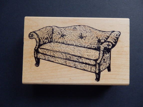 Comfy Couch Furniture Rubber Stamp Wood Mount