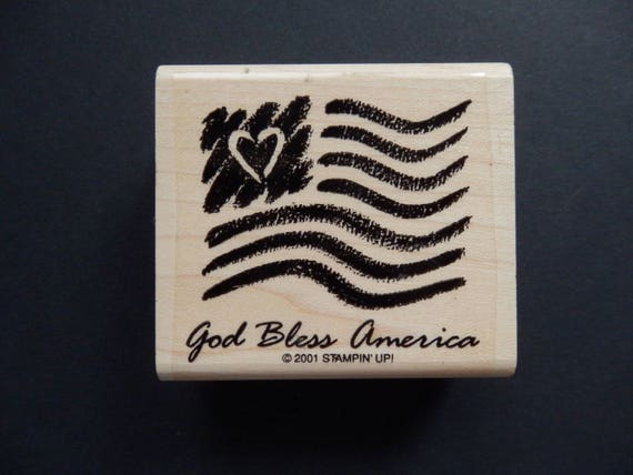 Stampin Up American Flag God Bless America Wood Mount Etsy