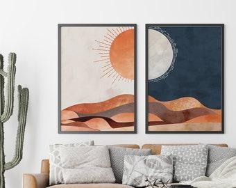 Desert Print, Boho Art, Print Set of 2, Sun and Moon, Digital Download, Decorative Wall Art, Eclectic Wall Art, Mid Century Modern Art, Dune