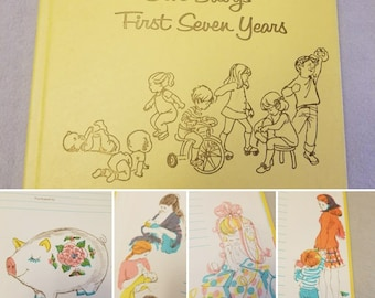 Vtg 70's Scrapbook Mothers Aid of Chicago Hospital Yellow Decoupage Art 7 yr