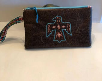 Aztec Dark Brown Faux Leather Wristlet Purse