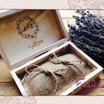 Ring bearer wedding pillow, burlap and vintage wooden box