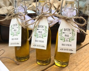Bottles of olive oil, vial for guest gifts Limoncello, pastis, rum, liquor, olive oil...