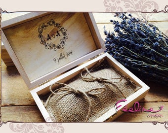 Ring bearer wedding pillow, burlap and vintage wooden box