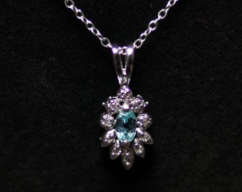 14K White Gold Marquise Apatite and Diamond Pendant Necklace on a Cable Chain
