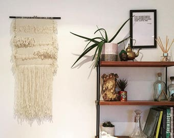 Large handwoven wall hanging / tapestry made using ethical materials on black wooden dowel - MADE TO ORDER