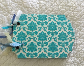 Handmade turquoise chipboard scrapbook album
