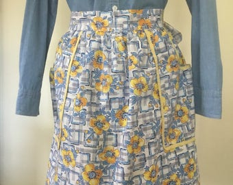 Vintage blue and yellow apron