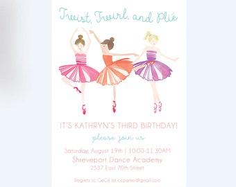 Ballerina Invitation//Ballet Themed Birthday Party