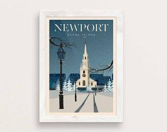 Newport RI Vintage Style Travel Poster Giclee Art Print / Trinity Church