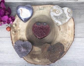 SET of 5 Mixed Minerals Hearts Set Shaped Heart , Amethyst Druzy Heart, Uruguayan Amethyst Heart, Amethyst Crystal Heart, MHLT0034