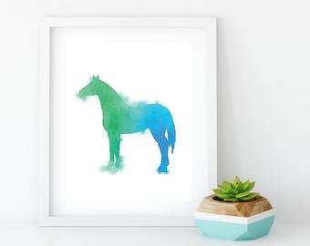 Watercolor Horse Painting, Farm Animal Watercolor Nursery Poster, Barn Decor, Horse Watercolor Wall Art, Childrens Print, Nursery Art Print