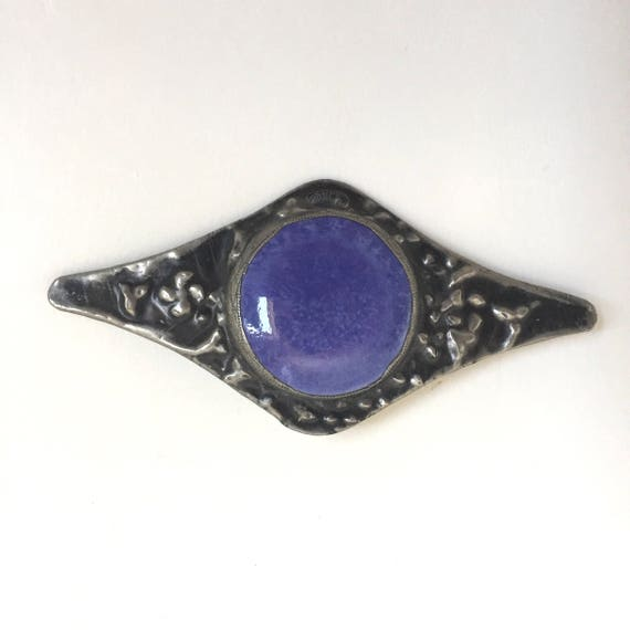 Arts and Crafts Pewter Brooch featuring a Ruskin S