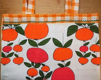 Tote bag, shopper, Apple turnover, 70's fabric, vintage, shopping bag, tote bag,