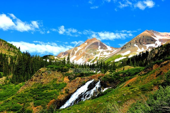Colorado Mountains with Waterfall, Twin Peaks, Ouray