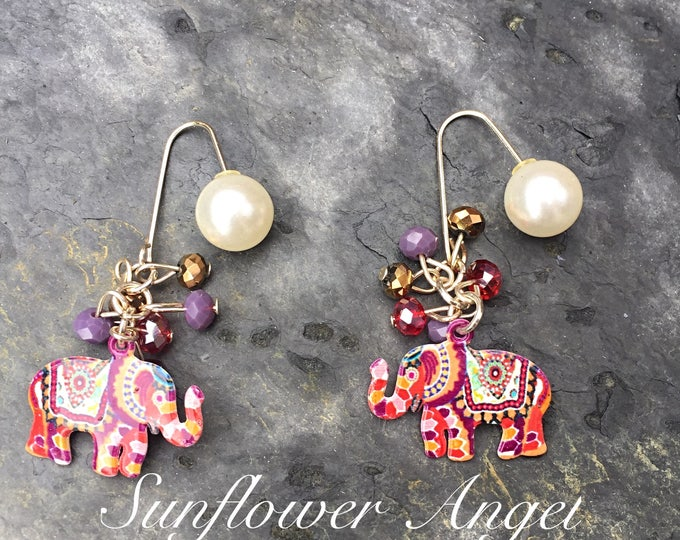 Featured listing image: Earrings, enamel, indian style colourful earrings, with pearl stud.