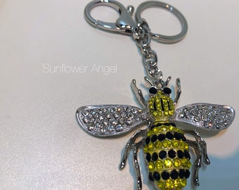 Large bumble Queen bee diamante keyring or bag charm, in silver with ring and bag clip.