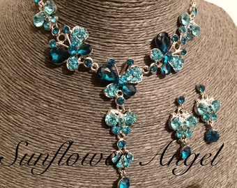 Beautiful drop blue and green butterfly tones, crystals necklace, with matching earrings