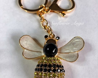 Large bumble Queen bee diamante keyring or bag charm, with enamel wings, in gold with ring and bag clip.