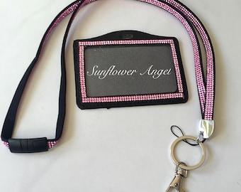 Diamanté lanyard, diamanté ID holder in  arioys colours on black faux leather.
