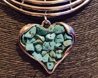 Tribal, Heart With Turquoise Chips, pendant With Double Leather Cord.