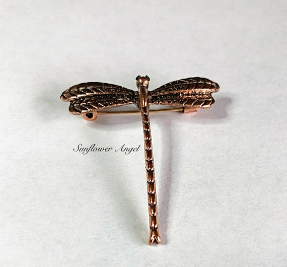 Vinge style Copper Dragonfly brooch, with diamante eyes.