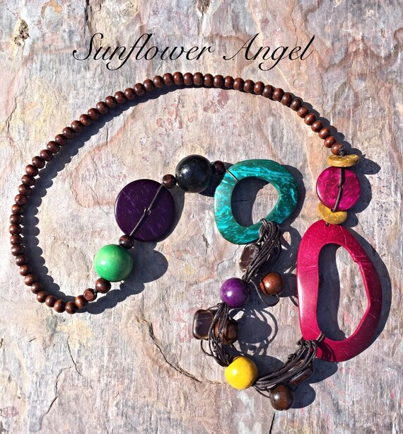 Wooden necklace, abstract, colourful, Lagenlook, boho hippy. Necklace, With Wooden Beads, coconut shell, And oval beads. Handmade
